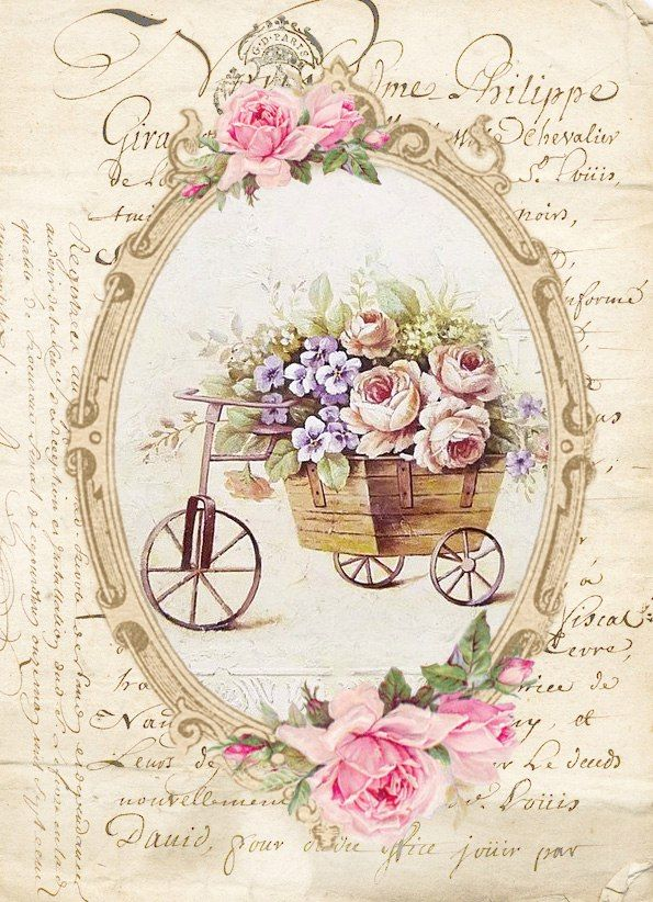 Vintage bike with cart full of roses and blue flowers surrounded by frame with roses on writing.