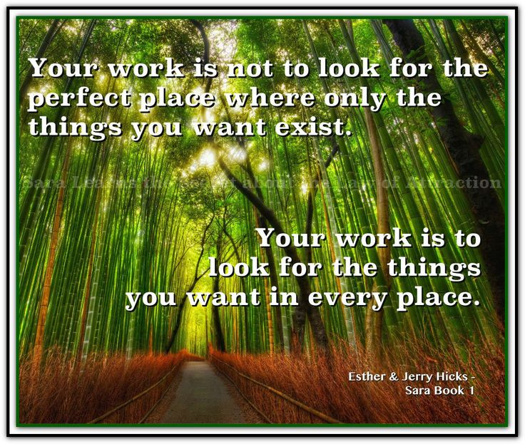 Your work is not to look for the perfect place where only the things you want exist. Your work is to look for the things you want in every place. *Abraham-Hicks Quotes (AHQ2213) #sara