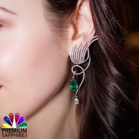 Make your own style by adorning this classy and beautiful designed emerald stone earrings  from http://www.premiumsapphire.com/blog/emerald-gemstone-origin-properties-benefits/