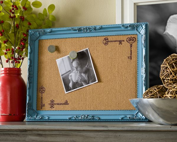 Old keys, Roses, and photography! Perfection!!! Decorate a corkboard with new Mod Podge Rocks stencils