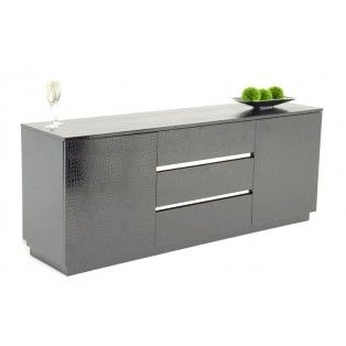 Modern black crocodile lacquer buffet available in white for Sideboard 3 00 m