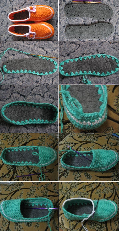 Patrones Crochet: Como hacer Zapatillas de Ganchillo desde unas Suelas: Como Hacer Zapatos Tejidos, Idea, Ganchillo Desde, Crochet Slippers, Patrones Crochet, Crochet Ganchillo, Crochet Shoe, Desde Unas, Crochet