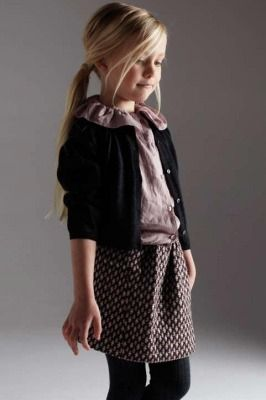More LIHO Millie Cardigan in Dark Grey. Esme Blouse in Pale Mauve. Heather Skirt in Mauve Multi Woven. Ribbed Tights in Mid Grey