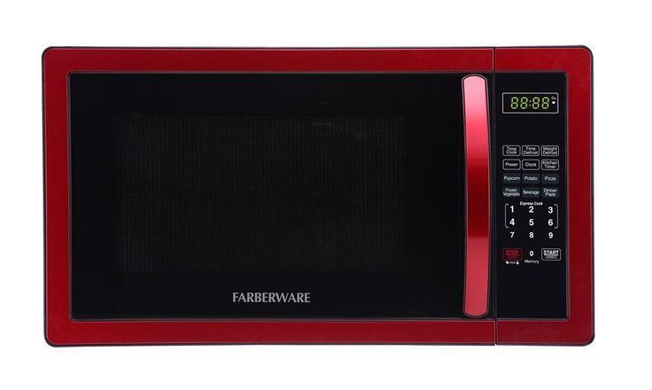 Farberware Classic Series Microwave Oven 1000 Watt Microwave Red Defrost Timer #Farberware