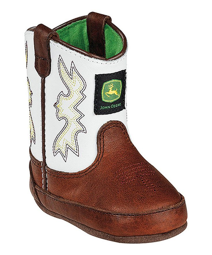 Look what I found on #zulily! John Deere Brown & White Embroidered Leather Cowboy Boot by John Deere #zulilyfinds