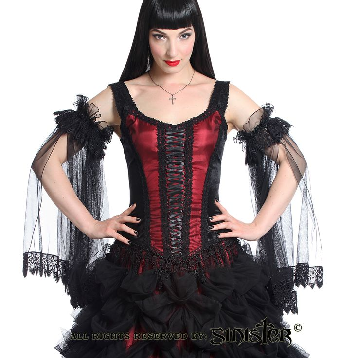 Collection 2015 - Medieval gothic top by Sinister made of velvet with satin/mesh panels in the centre fron of the bodice. The top has black satin ribbon lacing in the centre front and a lucious venetian lace at the hem of the top. (951)