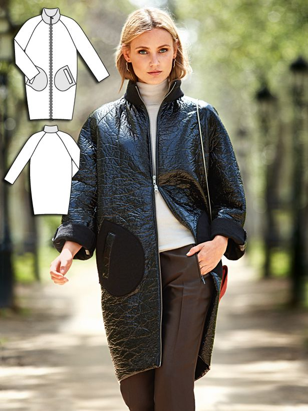 The statement piece for the new season in a cool sixties style. A coat in the look of a blouson! Fashionistas will sew it as shown here in a laminated knit and finish the pronounced standing collar and rounded pockets using the matte reverse side of the fabric. A practical fabric choice because the laminate process means that the fabric doesn't need a finished hem. It doesn't tolerate heat, though – it is best left alone or use the minimum setting if pressing is needed.