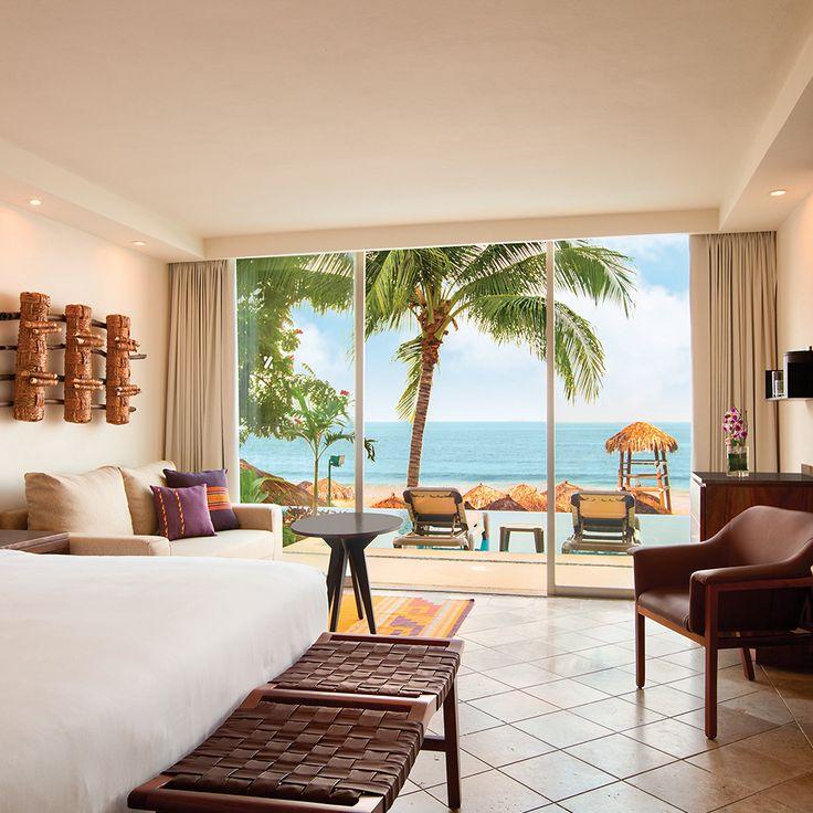 Floor to ceiling windows provide unlimited ocean vistas from the comfort of your hotel room. | Hyatt Ziva Puerto Vallarta