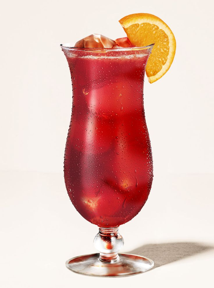 Hurricane. INGREDIENTS:  2 oz BACARDÍ® Black,  1½ oz BACARDÍ® Superior,  2 oz orange juice,  1 oz freshly squeezed lime juice,  1 oz passion fruit syrup,  1 teaspoon grenadine syrup.  METHOD: Shake all ingredients vigorously with plenty of ice. Next, strain into a tulip glass filled with ice and garnish with a lemon wheel, orange peel, and a cherry.