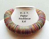 """Kit de bricolage collier, collier en papier, kit de bijoux DIY kit de collier, couleur, arc-en-ciel, festive bijoux, collier de rapport """"BOLD"""", upcycled papier"""