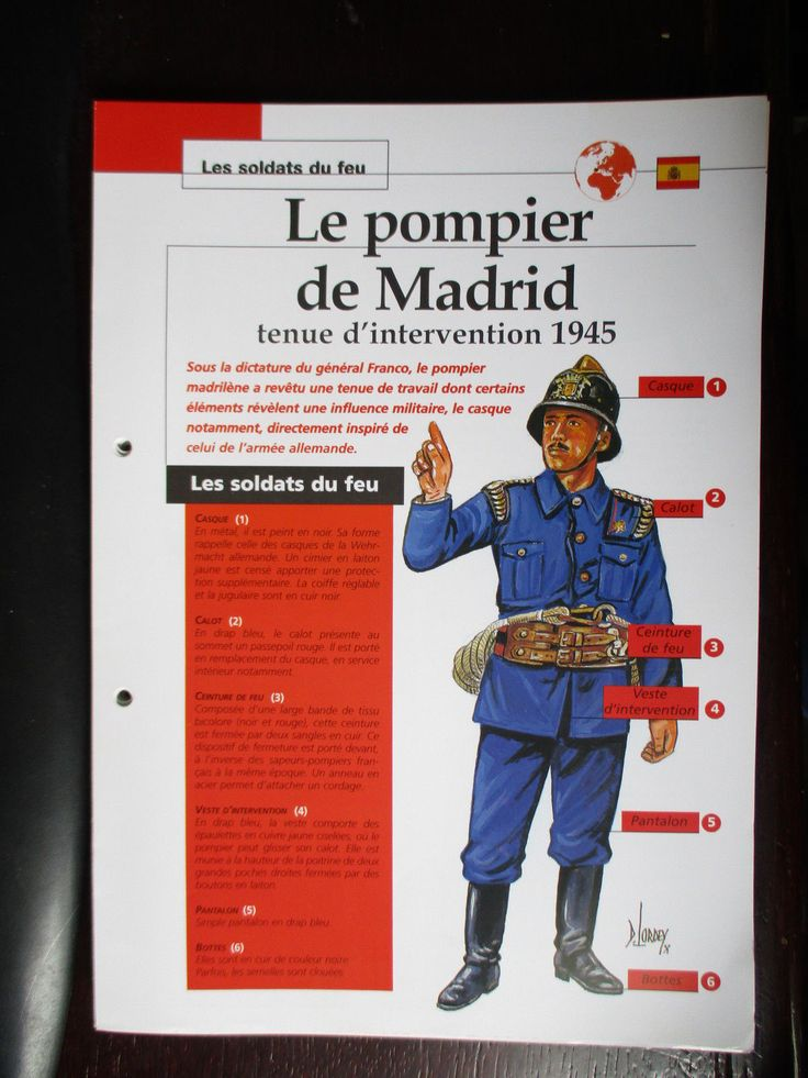 1945 TENUE D INTERVENTION POMPIERS MADRID
