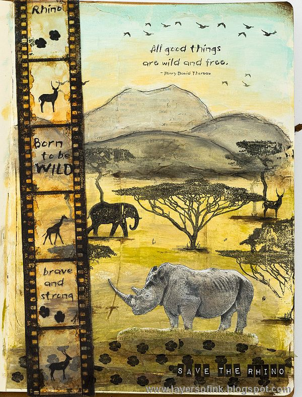Layers of ink - Safari Art Journal Page Tutorial by Anna-Karin with stamps by Darkroom Door.