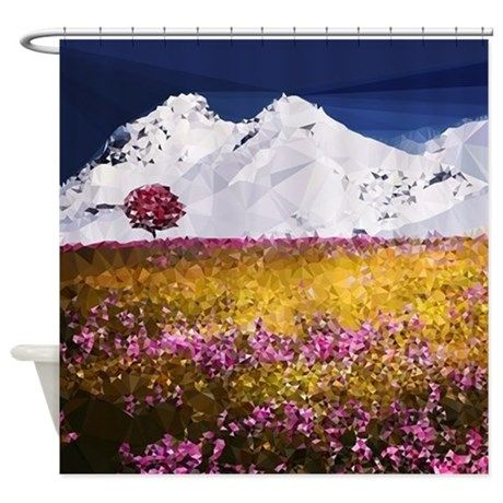 Floral Low Poly Mountain Snow Shower Curtain