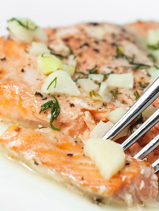 This baked salmon topped with a buttery white wine and dill sauce is sure to help me keep a New Year's resolution for once.
