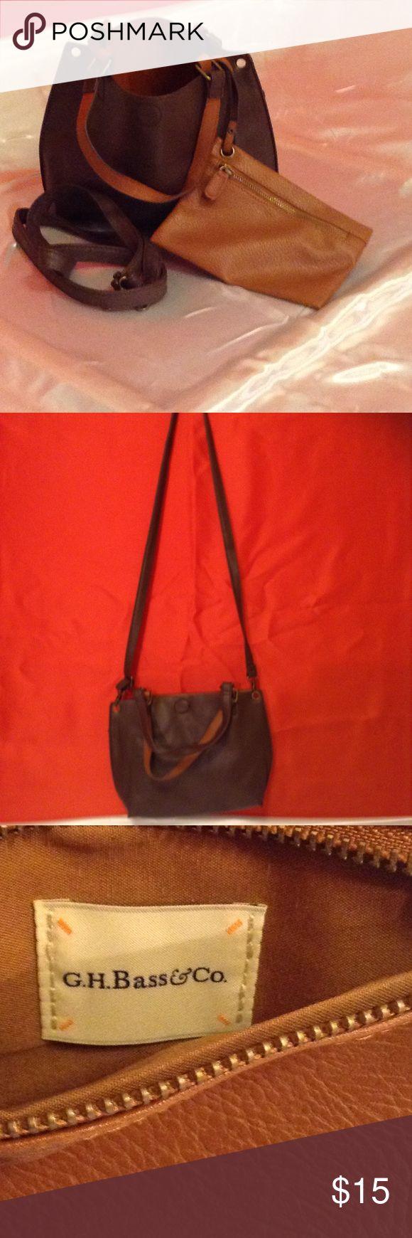 Brown G H Bass Handbag G H Bass bag can be carried as a Crossbody or a handbag, has a small removable pouch bag Bags Crossbody Bags