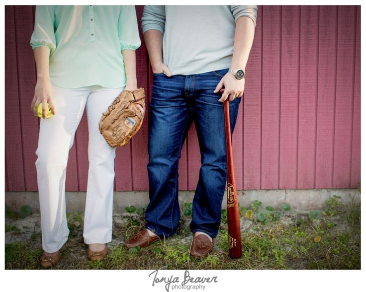 The couple met because she played softball and he played baseball. Their love of sports brought them together so their incorporated their hobbies into their engagement shoot!   Jacksonville Engagement Photos - Jacksonville Florida Wedding Photographer -  Tonya Beaver Photography