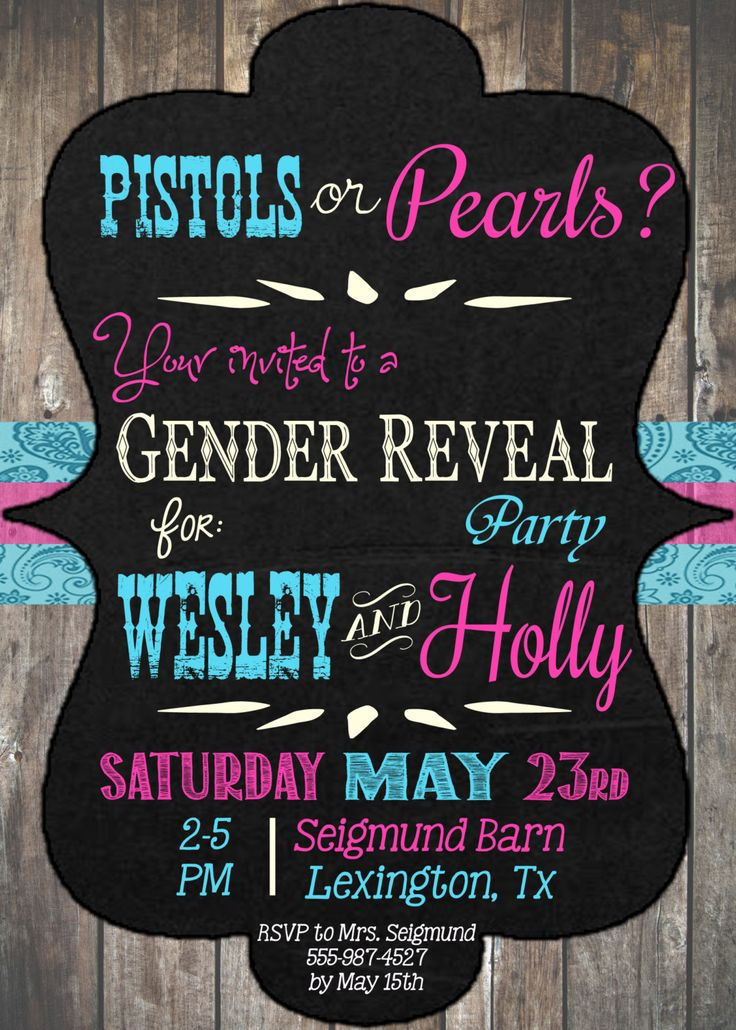Pistols or Pearls Gender Reveal Party Printable Invitation by SparePartsBoutique on Etsy