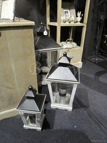 J-Line Set van 3 trapezium lantaarns naturel hout bruin 70H