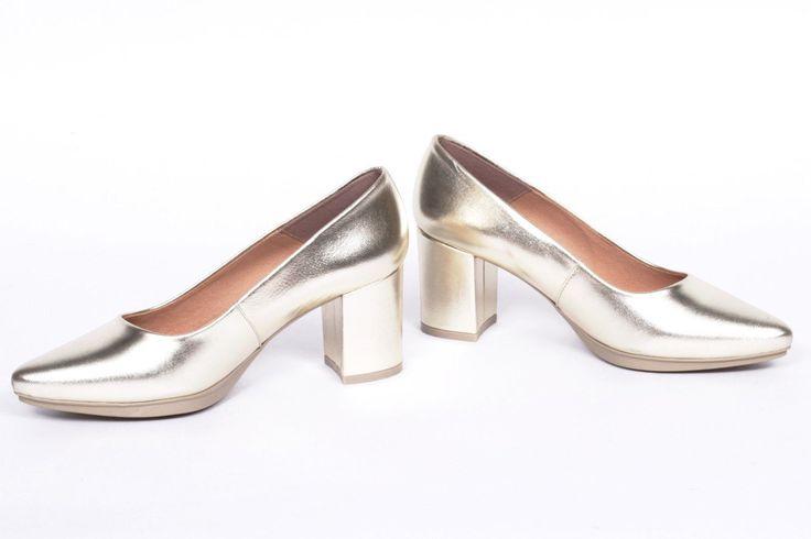miMaO Urban S Platino –  Zapato mujer salon de tacon vestir cómodo piel - women high heels shoes copper metal platinum  comfort pumps leather