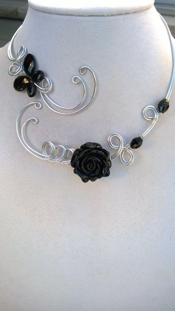 Alu wire jewelry - Wedding jewelry - Statement necklace  - Open collar necklace, Wire wrapped, Women gift, Black jewelry, black necklace
