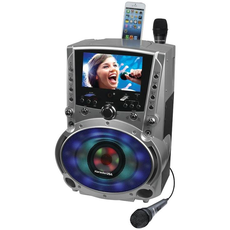 KARAOKE USA GF758 DVD/CD+G/MP3+G Bluetooth(R) Karaoke System with 7 TFT Color Screen & LED Sync Lights