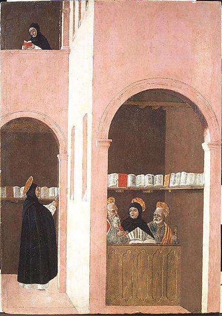 Saint Thomas Aquinas Aided by Saints Peter and Paulby Bartolomeo degli Erri (Italian, Modena, active 1460–79)