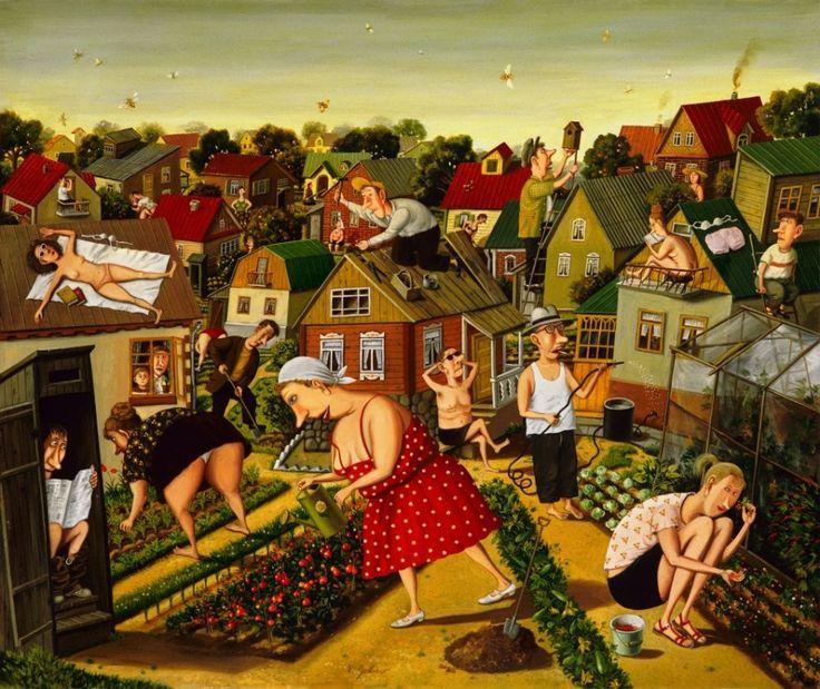 """Валентин Губарев ~ """"Дача"""". В современном мире, помешанном на кассовости, художник Валентин Губарев стоит особняком, не гонится за славой и просто делает то, что любит. Его любят в Европе, а сам он живет и работает в Минске. Его творчество безумно популярно за рубежом, но почти незнакомо его соотечественникам. В середине 90-х годов в его бытовые зарисовки влюбились французы и заключили с художником контракт на 16 лет."""