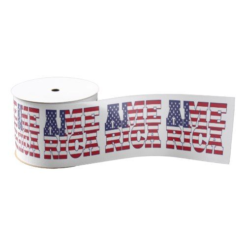 Patriotic Anerican flag typography design Grosgrain Ribbon