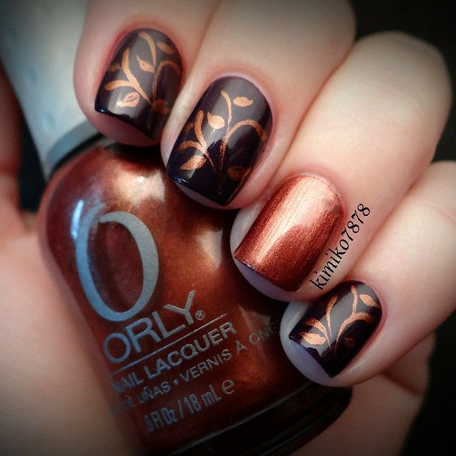 """Instagram by kimiko7878 - Main color is """"Disturbia"""" from WnW Megalast and accent nail is Orly's """"Flagstone Rush""""."""