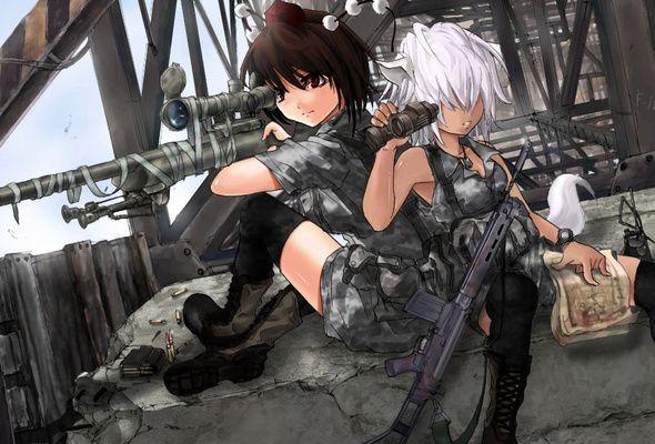 Wallpaper sniper rifle girl uniform war nightcore - Anime war wallpaper ...