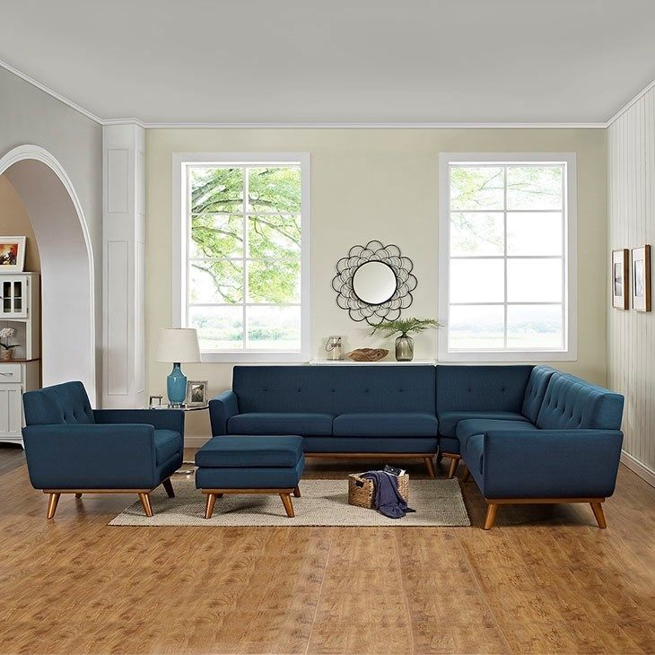 LexMod - Engage 5 Piece Sectional Sofa in Azure