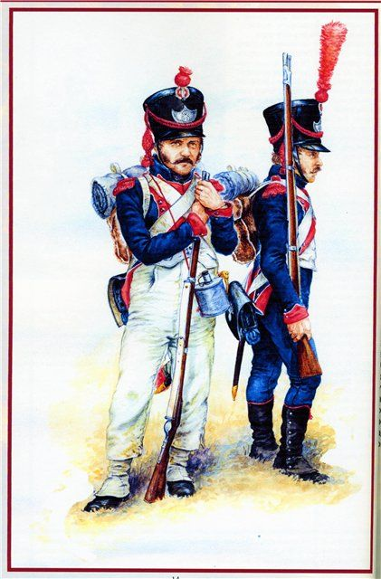 Frankfurt am Main Grenadiers showing both the dress trousers and white overalls, in winter months the white overalls were liable to be replaced with dark blue overalls.
