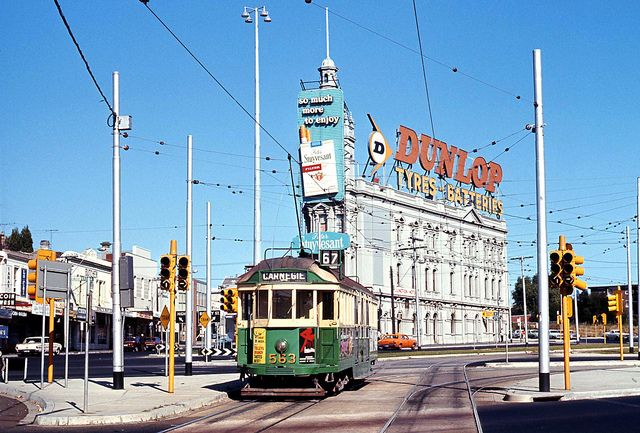 Melbourne and Metropolitan Tramways Board W2 class tram 563 on Route 67 Carnegie on reserved track in St. Kilda Rd at Fitzroy Street Junction St. Kilda, Melbourne, Victoria, Australia. by express000, via Flickr