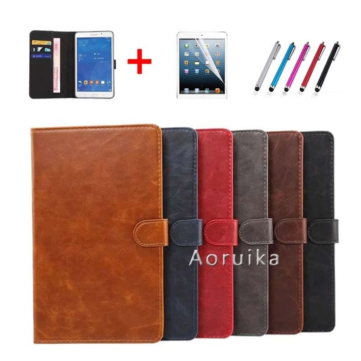 [Visit to Buy] T350 T355  PU Leather Smart case for samsung galaxy tab A 8.0 SM-T350 SM-T355 SM-P350 P355 8'' tablet cover +film +stylus #Advertisement