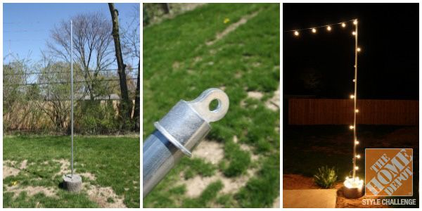 DIY freestanding posts make it easy to string globe lights for an outdoor dining area