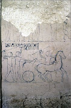 Outline artist's sketch in tomb no. 9, of Mahu. Amarna Project