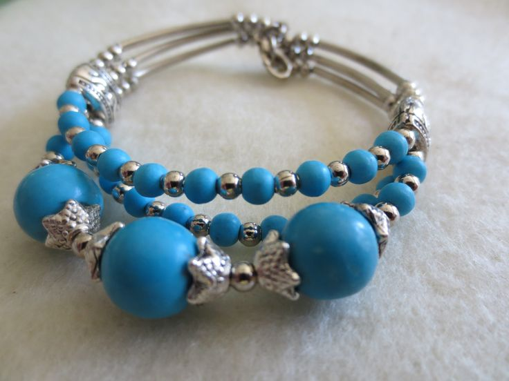 Gorgeous Turquoise and Tibetan Silver Layered Bangle $18.00 cute