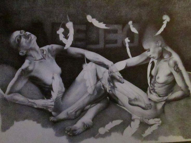 """da """"LEDA E IL CIGNO"""" disegno a BIC su carta 48x33cm Roma 2012"""