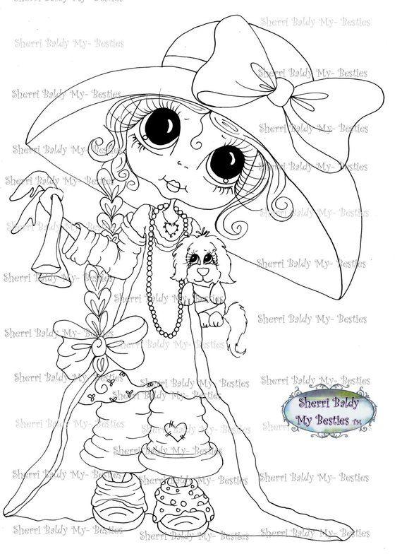 Instant Download Digital Digi Stamps Big Eye Big Head Dolls Img176 By Sherri Baldy Digi Stamps Line Art Images Big Eyes Art