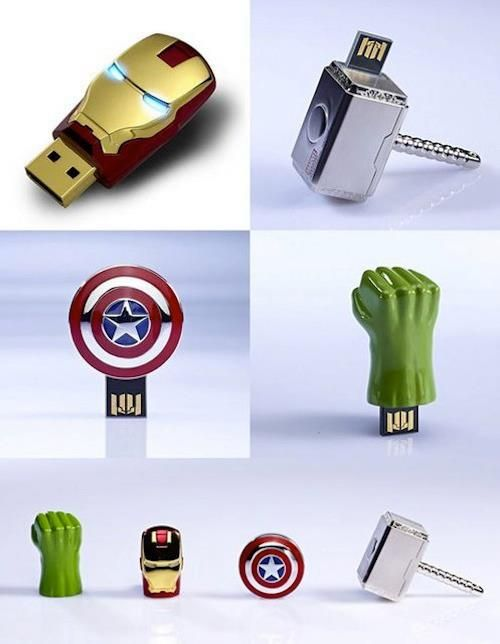 Marvel Avengers USB  Flash Drives.  How awesome!! I want the hulk one and the thor one.