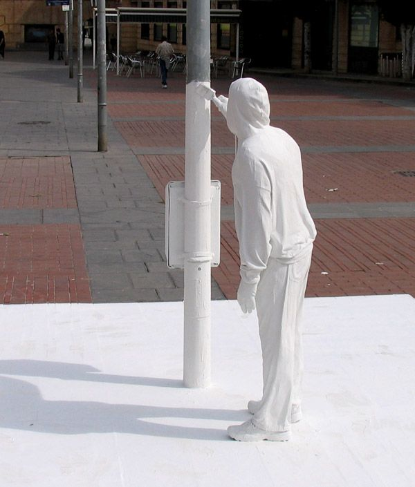 Street artist Mark Jenkins creates hilarious wonderful packing tape sculptures of people in bizarre situations and behaviours, and installs them in cities around the world. His humour is brilliant, as well as his talent as a modern artist of installations.