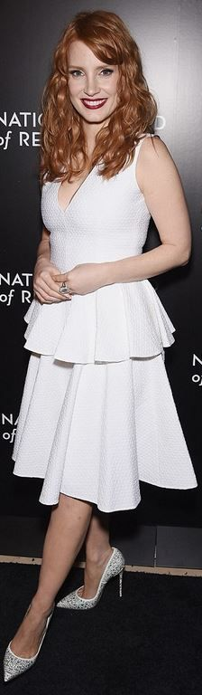 Who made Jessica Chastain's white peplum dress?