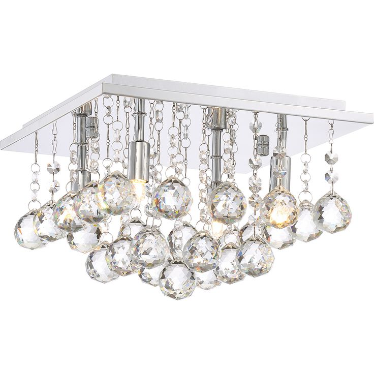Quoizel bordeaux with clear crystal four light flush mount