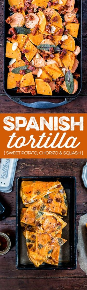 """This Spanish tortilla with chorizo, sweet potatoes and squash can be eaten hot or cold and makes a great portable snack. Visit the collaborative board """"DIY bloggers for Volkswagen"""" for more inspiring recipes and ideas. https://uk.pinterest.com/volkswagen/diy-bloggers-for-volkswagen/"""