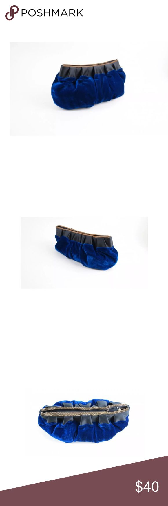 """Reiss blue velvet clutch bag Condition: Excellent.  15"""" L x 7.5"""" H. Reiss Bags"""