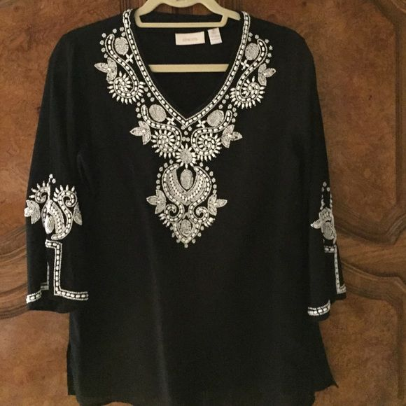Gorgeous Chico's Linen & Cotton Tunic Beautiful Beaded Linen and Cotton Tunic. Size 0. Stunning White Beads in an intricate pattern. Chico's Tops Tunics