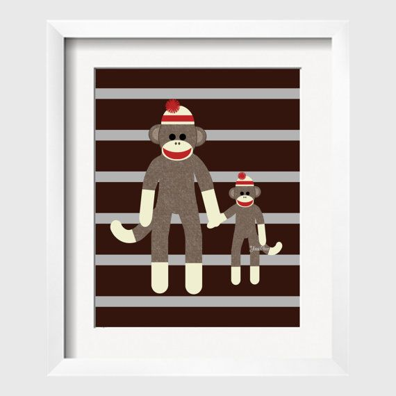 Sock Monkey Art Art Decor for Kids Perfect for by YassisPlace, $12.99