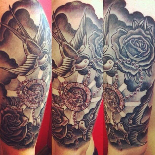 half sleeve of st christopher roses and swallows done by tim child 39 s tattoo half sleeve. Black Bedroom Furniture Sets. Home Design Ideas