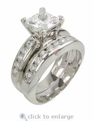 CZ Cubic Zirconia Wedding Engagement Ring Set Princess Cut Channel Set  Rounds 14K White Gold By