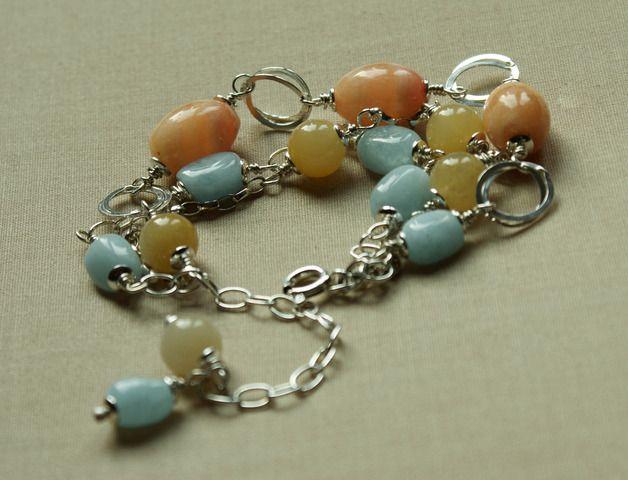 Bracelets – Three row aquamarine sterling silver bracelet – a unique product by Tilia_ on DaWanda